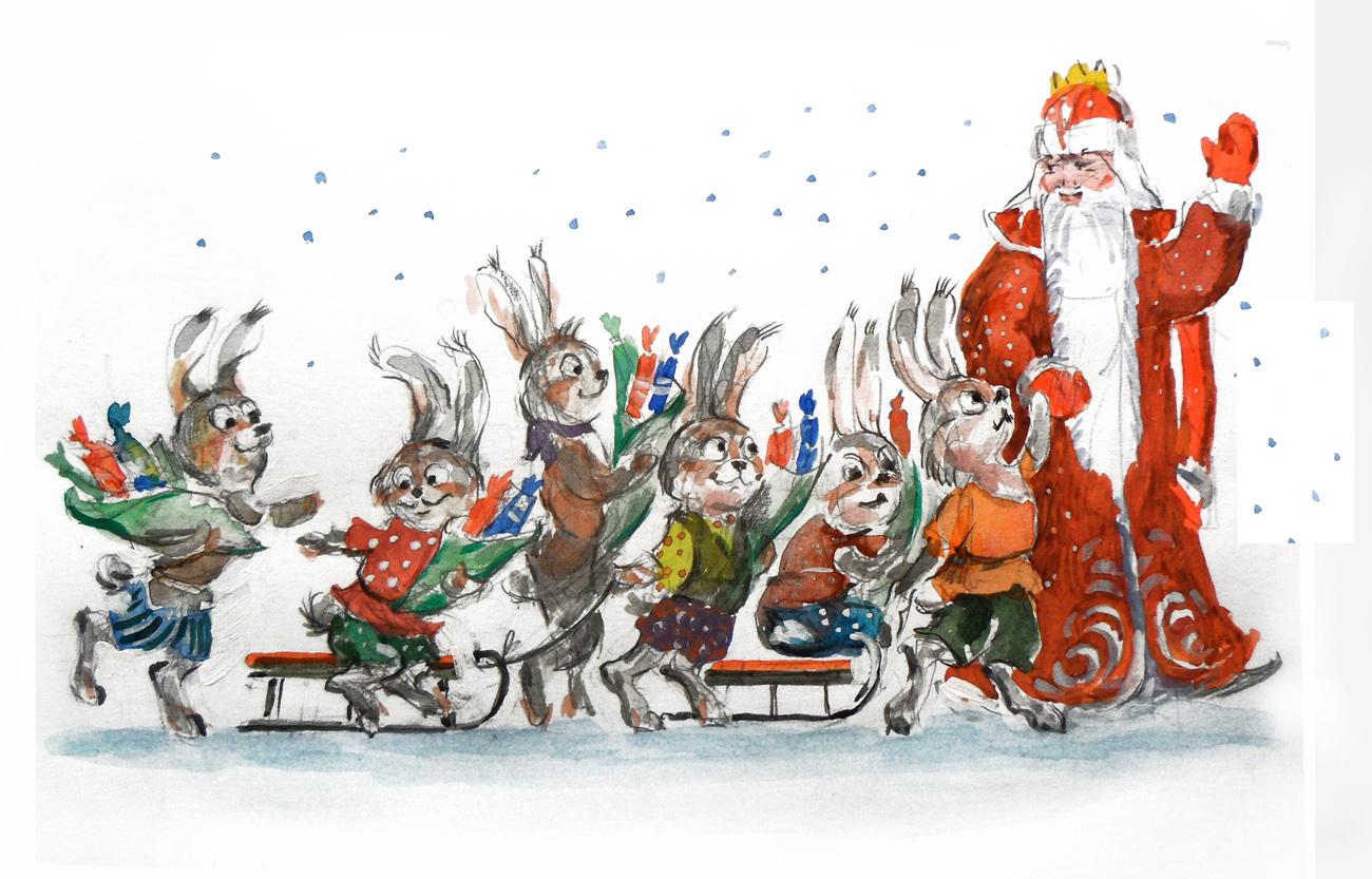 дед мороз и зайцы открытка снимки имеют